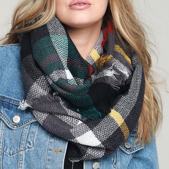 L.I.B Accessories - Basic Everyday Plaid Infinity Scarf